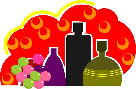 bearer: Illustration of three bottles and grapes in red background Stock Photo