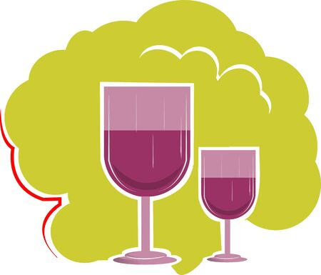 Illustration of two wine glass in green background illustration