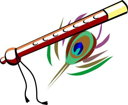 Illustration of flute with brown color illustration