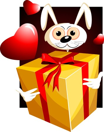 Illustration of a gift box and rabbit illustration