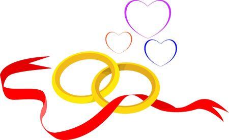 Illustration of two golden rings illustration