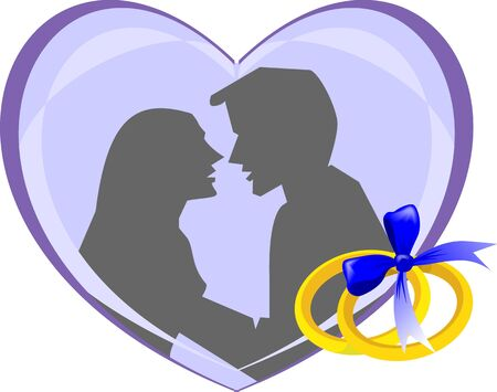 Illustration of two golden rings and love symbol illustration