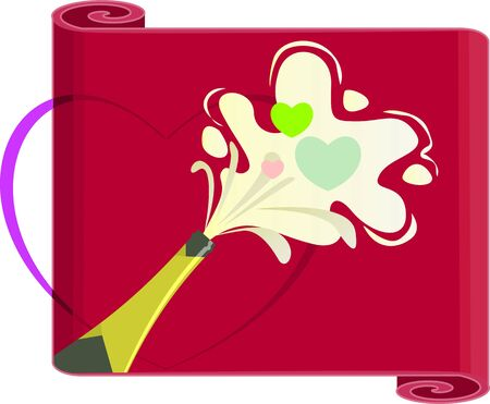 Illustration of a champagne in a red poster