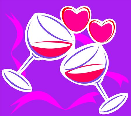 Illustration of two goblets and love symbols illustration