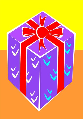 Illustration of a gift box with red ribbon illustration