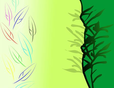 Illustration of design in green shade background