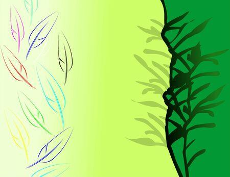 pring: Illustration of design in green shade background