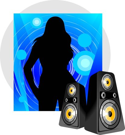 clubber: Illustration of women and speakers in a blue design background