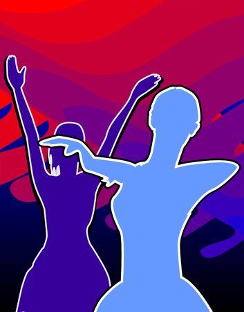 showgirl: Illustration of two girls dancing in a designed background Stock Photo
