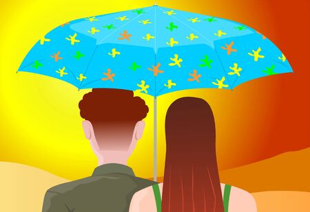 Illustration of two couples is sitting under a umbrella illustration