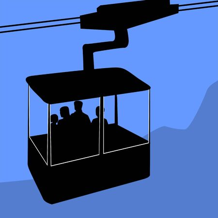 cable car: Illustration of a cable car on the top of hills Stock Photo