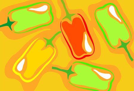 capsicum: Illustration of capsicum in yellow background