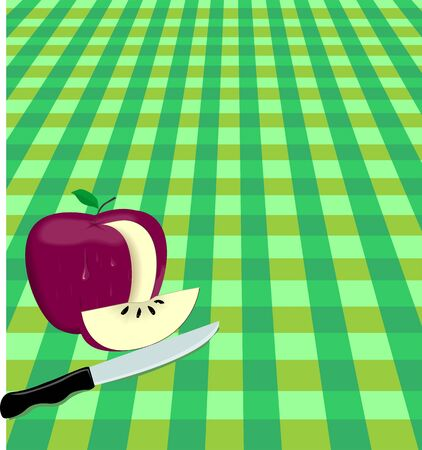 remain: Illustration of an apple has been cut by a knife Stock Photo