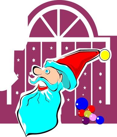 Illustration of a Santas hat and balloons illustration