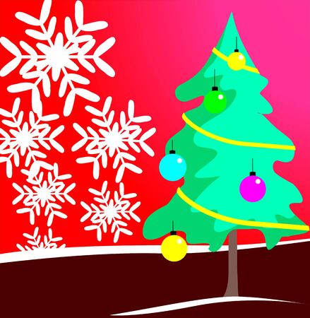 Christmas tree with decorations with color photo