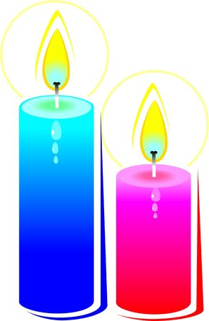Illustration of two candles with color illustration