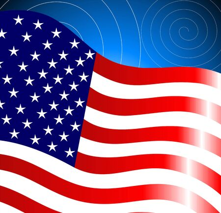 inaugural: Illustration of American flag in a blue design background