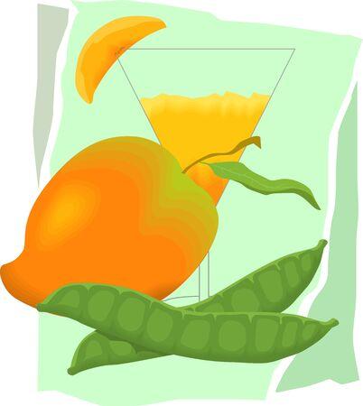 mango slice: Illustration of mango juice Stock Photo