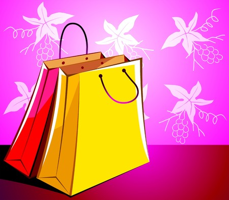 Illustration of shopping bags with colour  Stok Fotoğraf