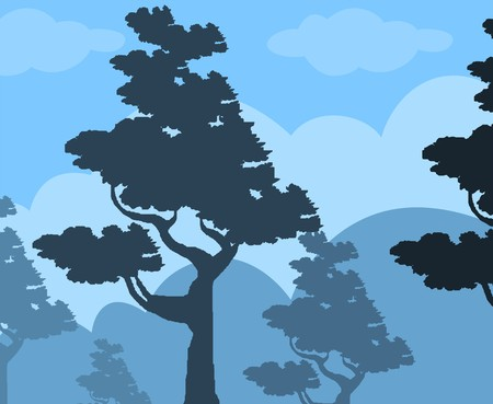 ash cloud: Illustration of tree with colour background  Stock Photo