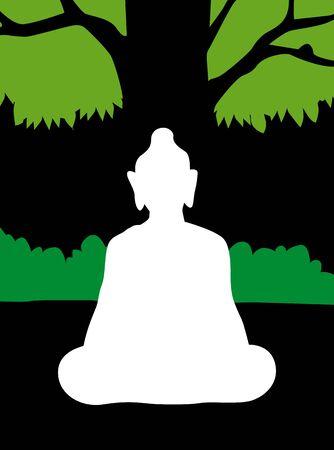budha: Illustration of silhouette of Lord Buddha
