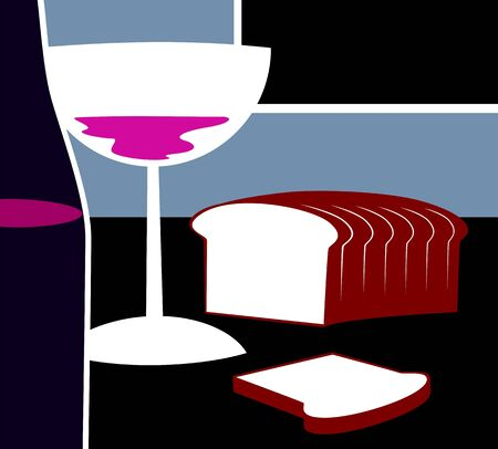 ad: Illustration of wine ad bread Stock Photo