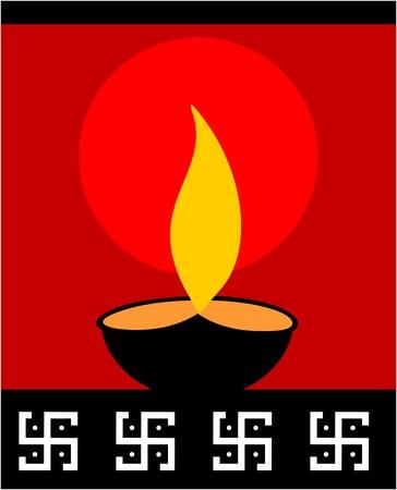 Illustration of divine pot lamp in red background Stock Illustration - 4556937