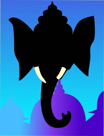lord ganesha: Illustration of Lord Ganesh in blue background