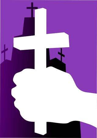 crucification: Illustration of a cross in hand