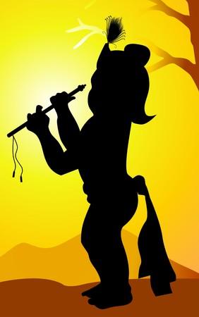 krishna: Illustratie van Heer Krishna met zijn fluit