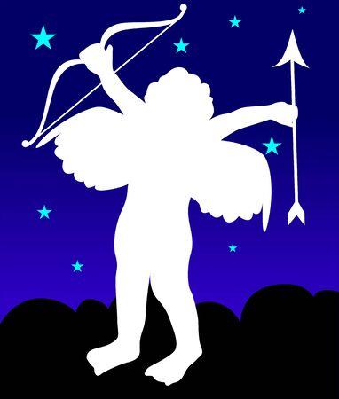 Illustration of a cupid flying in sky illustration