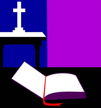 chapel: Illustration of a bible and cross