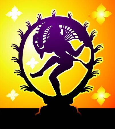 indian classical dance: Illustration of Lord nataraj in amber light