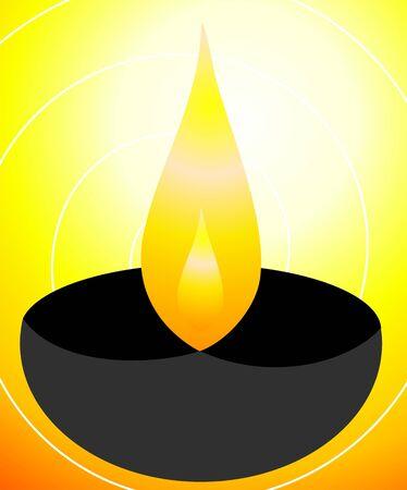 Illustration of divine pot lamp in yellow background Stock Illustration - 4510543