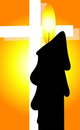 almighty: Illustration of a cross and candle Stock Photo