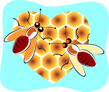 buzz: Illustration of love bee in a blue background