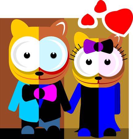 Illustration of cartoon married cats illustration
