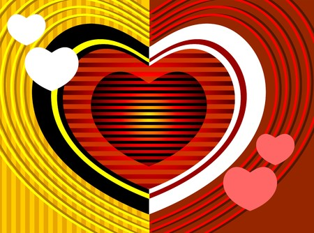 deign: Illustration of a love symbol deign in yellow and red background