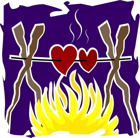 Illustration of love fire stick in a blue background illustration