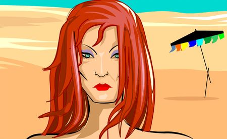 wave tourist: Illustration of beach in color background