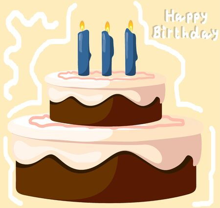 Illustration of a birthday cake and candles lighted illustration