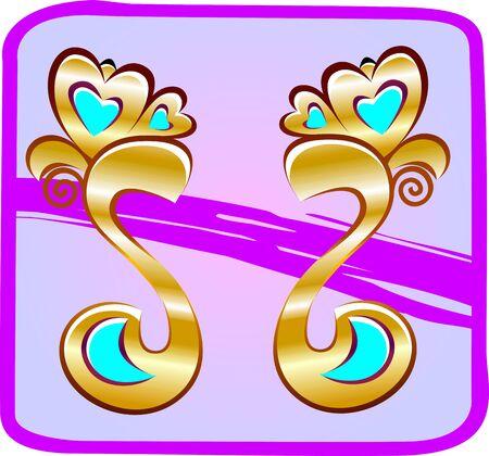 stud: Illustration of Ear ring in color background
