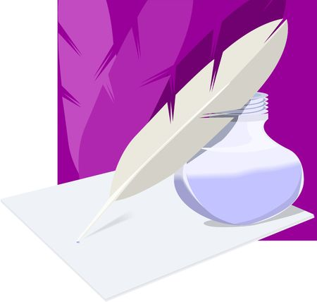 Illustration of inkwell feather and paper illustration
