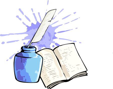 Illustration of book and inkpot  illustration
