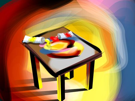 Digital image of desk with tooth paste photo