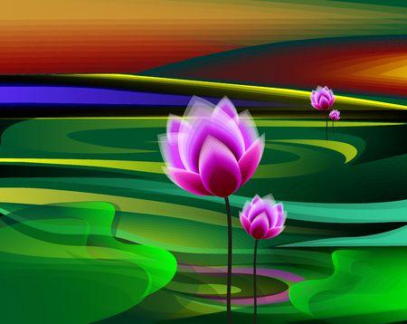 Digital painting of lotus in a green lake