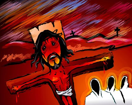 crucification: Digital painting of Jesus Christ in crucification