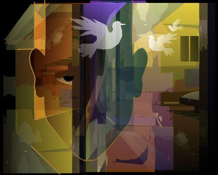 paloma de la paz: Pintura digital de un hombre con paloma volando