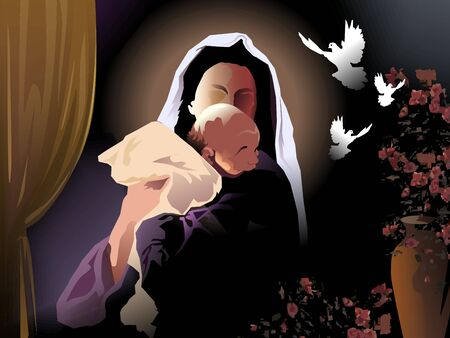 Digital painting of a mother and child with doves