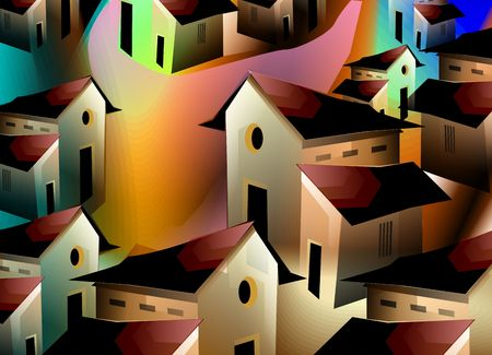Digital painting of row of houses with  background